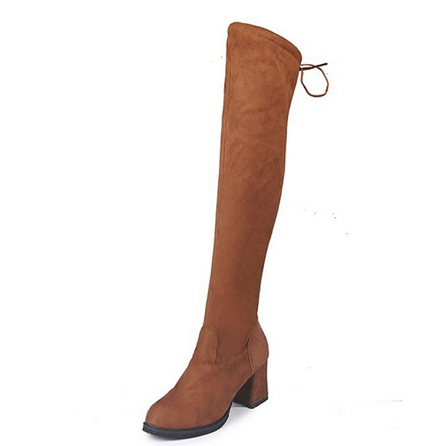 Women's Boots Chunky Heel Round Toe Suede Over The Knee Boots Fall & Winter Brown / Black