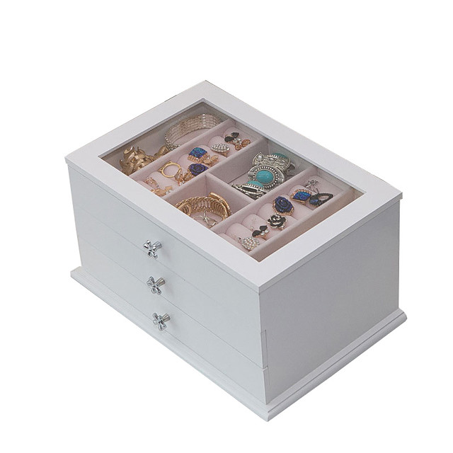 Square Jewelry Box - Wooden White, Blue, Pink # # # / Women's