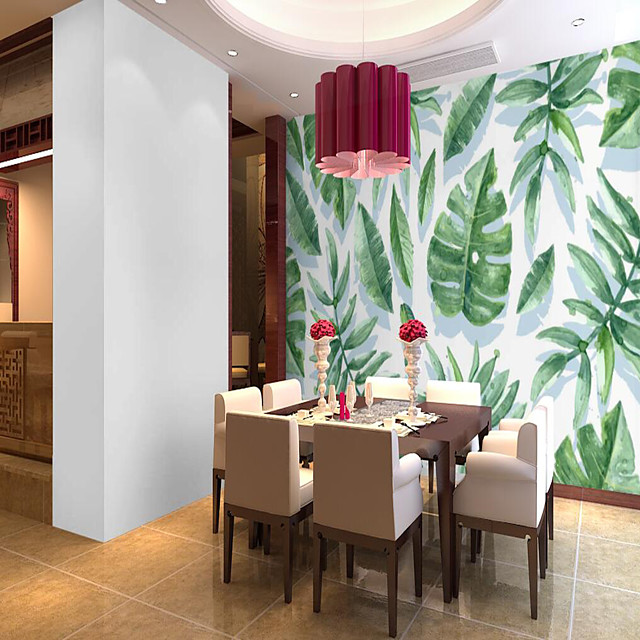 Customized Self Adhesive Mural Wallpaper Green Leaves Suitable For Bedroom Living Room Coffee Shop Restaurant Hotel Wall Decoration Art Room Wallcovering
