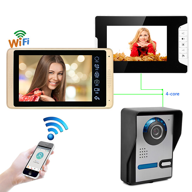 Wired & Wireless 7 inch Hands-free 1024*600 Pixel One to Two video doorphone