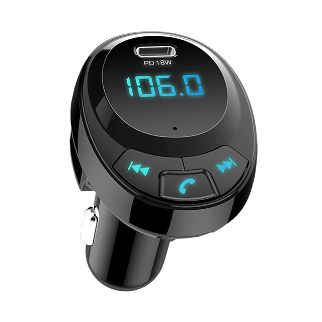 BT09 Car FM Transmitter Bluetooth 5.0 Car Mp3 Player Wireless Audio Adapter Car Charger with USB-C PD18W 3.1A Battery Voltage Adapter Car Wireless Bluetooth Kit