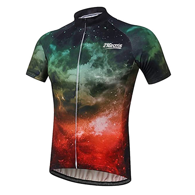 21Grams Men's Short Sleeve Cycling Jersey Black / Green Galaxy Dragon Animal Bike Jersey Top Mountain Bike MTB Road Bike Cycling UV Resistant Breathable Quick Dry Sports Clothing Apparel / Stretchy