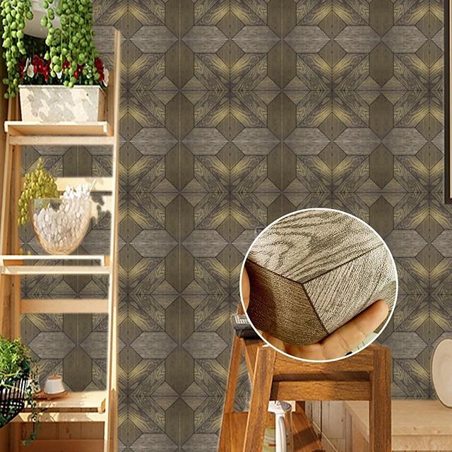 3D Wood Grain Pattern Tile Floor Sticker PVC Bathroom Kitchen Waterproof Wall Sticker Home Decor TV Sofa Wall Art Mural