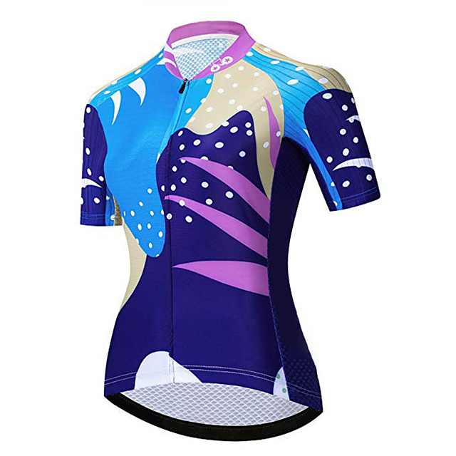21Grams Women's Short Sleeve Cycling Jersey Blue+Yellow Bike Jersey Top Mountain Bike MTB Road Bike Cycling UV Resistant Breathable Quick Dry Sports Clothing Apparel / Stretchy / Race Fit