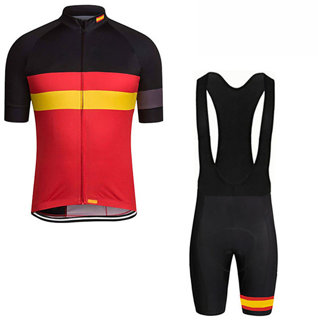 21Grams Men's Short Sleeve Cycling Jersey with Bib Shorts Spandex Polyester Black / Red Spain National Flag Bike Clothing Suit UV Resistant Breathable 3D Pad Quick Dry Sweat-wicking Sports Solid Color