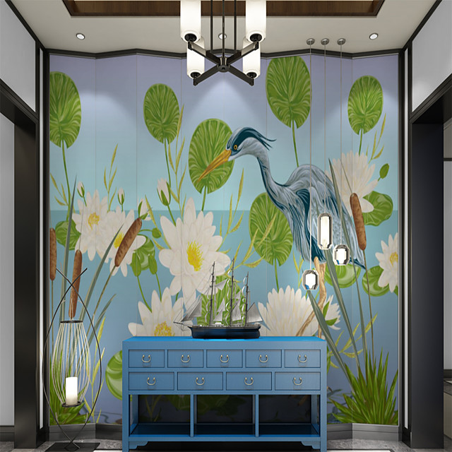Custom self-adhesive mural wallpaper lotus crane map suitable for bedroom  living room  coffee shop  restaurant  hotel wall decoration art