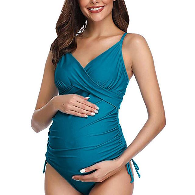 Women's One Piece Swimsuit Padded Maternity Swimwear Swimwear Green Blue Black Breathable Quick Dry Comfortable Sleeveless - Swimming Water Sports Summer / High Elasticity