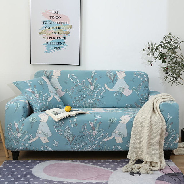Cartoon Rabbit Floral Print Dustproof All-powerful Slipcovers Stretch Sofa Cover Super Soft Fabric Couch Cover with One Free Pillow Case