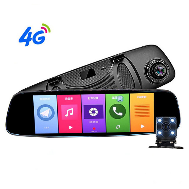 4G Android Travel Recorder HD Night Vision Rearview Mirror Dual Lens Radar Flow Velocimeter ADAS Assist 170 degree wide angle cmos 8 inch ips dash cam with gps / g-sensor / parking monitoring car reco