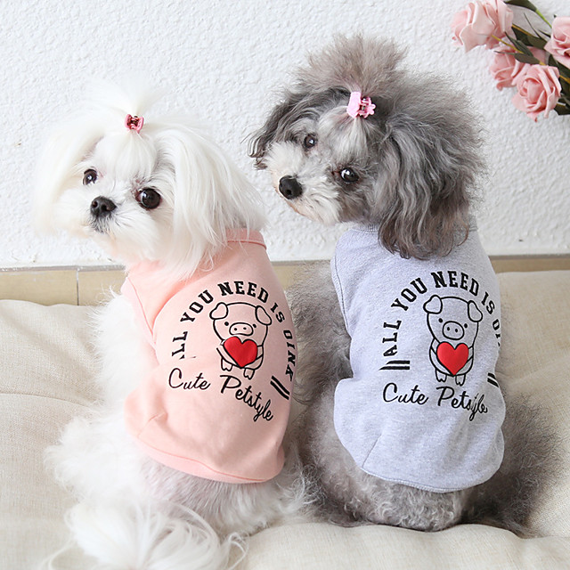 Dog Costume Vest Dog Clothes Breathable Pink Gray Costume Beagle Bichon Frise Chihuahua Cotton Cartoon Quotes & Sayings Casual / Sporty Cute XS S M L XL