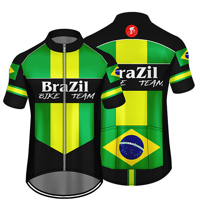 21Grams Men's Short Sleeve Cycling Jersey Green / Black Brazil National Flag Bike Jersey Top Mountain Bike MTB Road Bike Cycling UV Resistant Breathable Quick Dry Sports Clothing Apparel / Stretchy