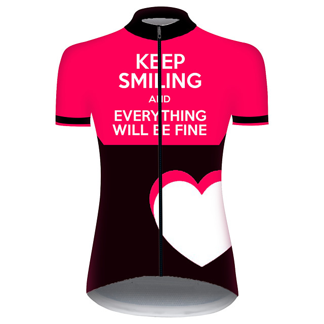 21Grams Women's Short Sleeve Cycling Jersey Black / White Novelty Bike Jersey Top Mountain Bike MTB Road Bike Cycling UV Resistant Breathable Quick Dry Sports Clothing Apparel / Stretchy / Race Fit