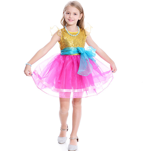 Fancy Nancy Dress Cosplay Costume Girls' Movie Cosplay Cosplay Costume Party Yellow / Blue Dress Tulle Sequin Polyster