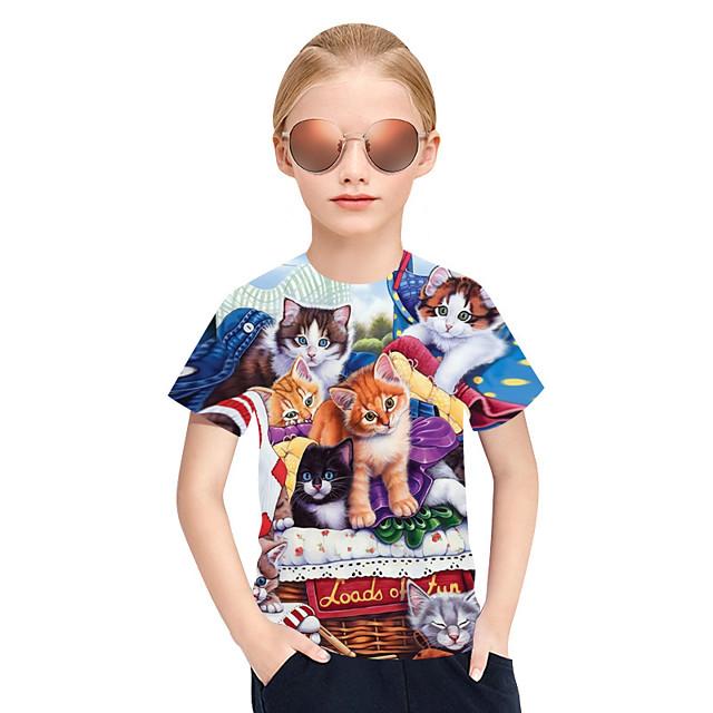 T-shirt Tee-shirts Fille Enfants Manches Courtes Chat Tartan 3D Animal Arc-en-ciel Enfants Hauts Actif Punk et gothique Le style mignon Le Jour des enfants