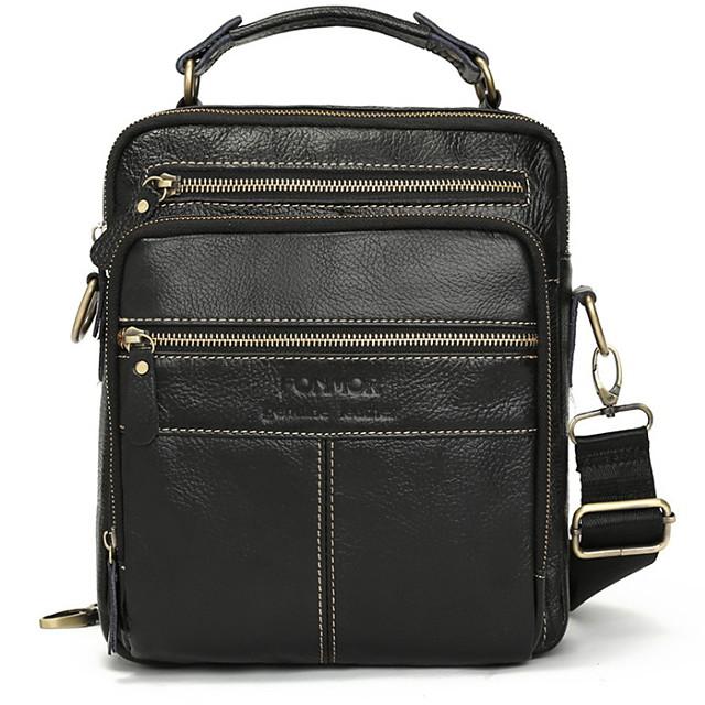 Men's Zipper PU Top Handle Bag Solid Color Black