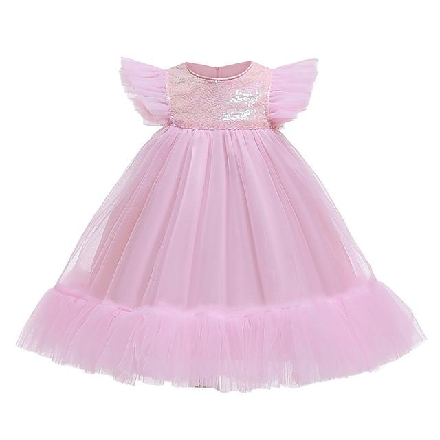 Princess Dress Flower Girl Dress Girls' Movie Cosplay A-Line Slip Cosplay Pink / Fuchsia Dress Halloween Carnival Masquerade Tulle Polyester Sequin