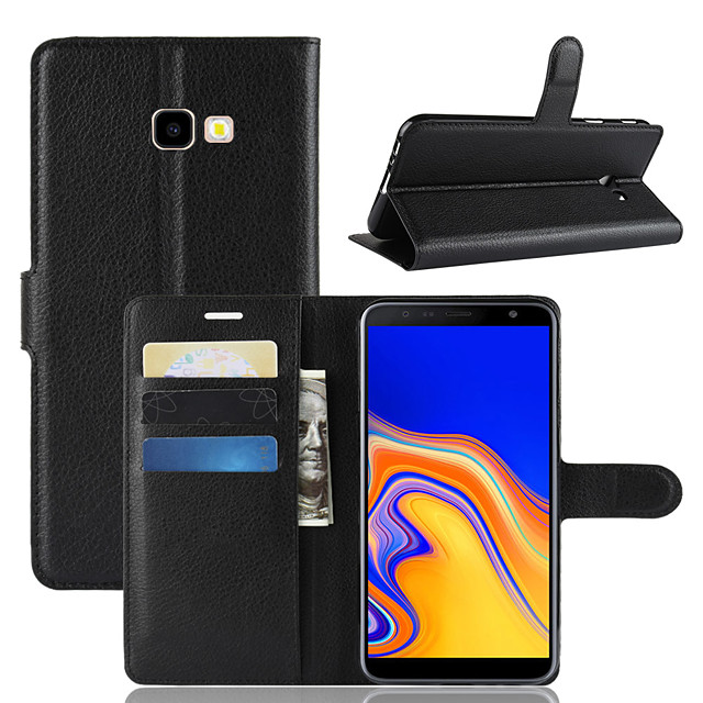 Case For Samsung Galaxy J8 (2018) / J7 (2017) / J7 (2018) Wallet / Card Holder / Shockproof Full Body Cases Solid Colored PU Leather