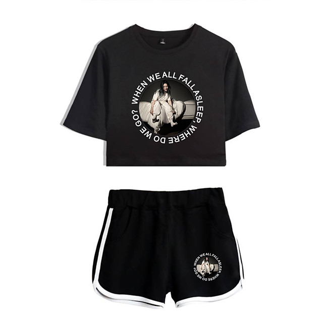 Inspired by Cosplay Billie Eilish Pants Cosplay Costume Pure Cotton Print 2-Piece Shorts For Women's / T-shirt