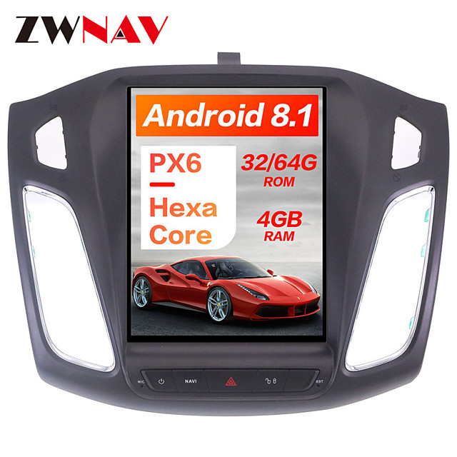 ZWNAV 10.4 inch 1 Din Android 8.1 4GB 64GB DSP Tesla style Car DVD Player GPS Navigation navi stereo Car multimedia player For Ford Focus 2012-2018
