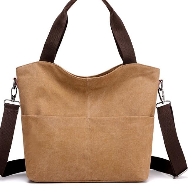 Women's Zipper Canvas Top Handle Bag Solid Color Dark Brown / Blue / Black