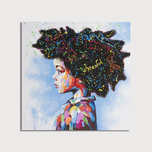 Hand Painted Canvas Oilpainting Abstract Girl by Knife Home Decoration with Frame Painting Ready to Hang