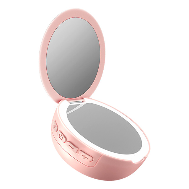 LITBest Pocket Cosmetic Gift Wireless USB Rechargeable 3X Magnifying Mini Makeup LED Light Vanity Mirror Home Bluetooth Speaker Fashion