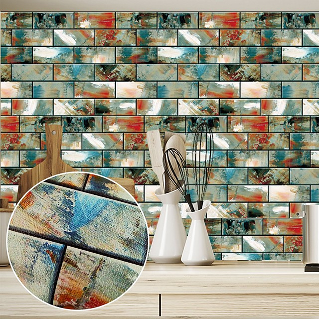 3D Brick Wall Stickers Kitchen Bathroom Decoration Stickers Waterproof Floor Stickers Wall Decals Wall Mural Home Decor