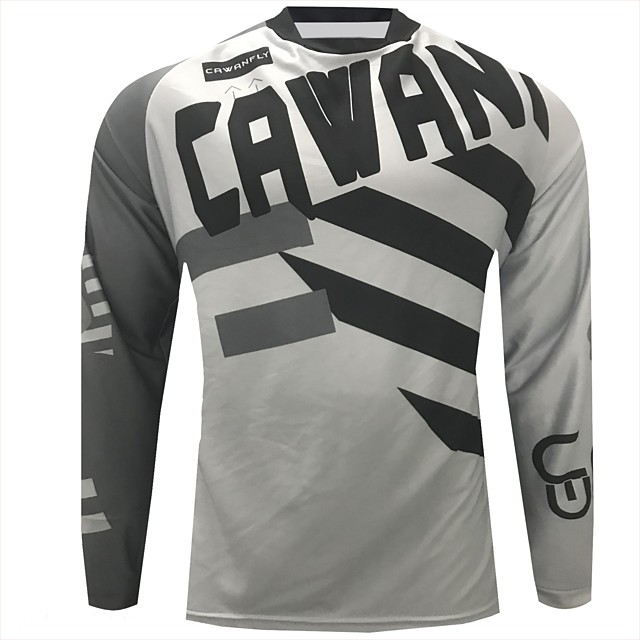 CAWANFLY Men's Long Sleeve Cycling Jersey Downhill Jersey Dirt Bike Jersey Winter Polyester Black Patchwork Geometic Novelty Bike Jersey Top Mountain Bike MTB Breathable Quick Dry Sweat-wicking Sports