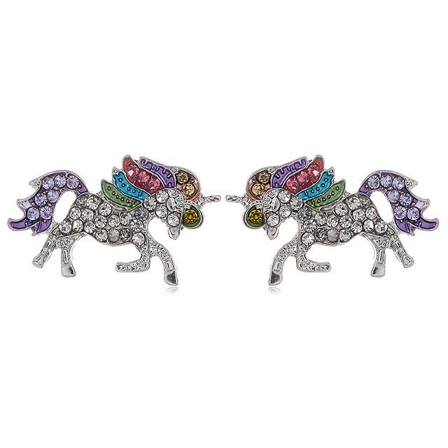Women's Cubic Zirconia Stud Earrings Classic Horse Cute Earrings Jewelry Rainbow For Daily Street 1 Pair
