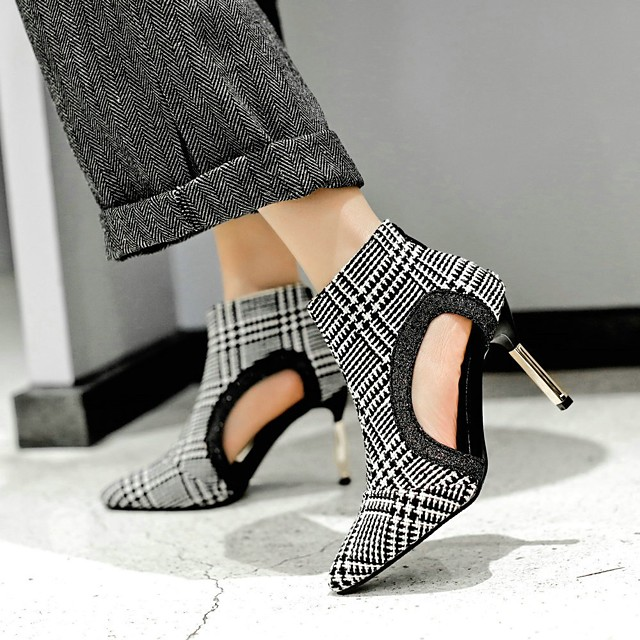 Women's Boots Spring &  Fall Stiletto Heel Pointed Toe Daily PU White / Black