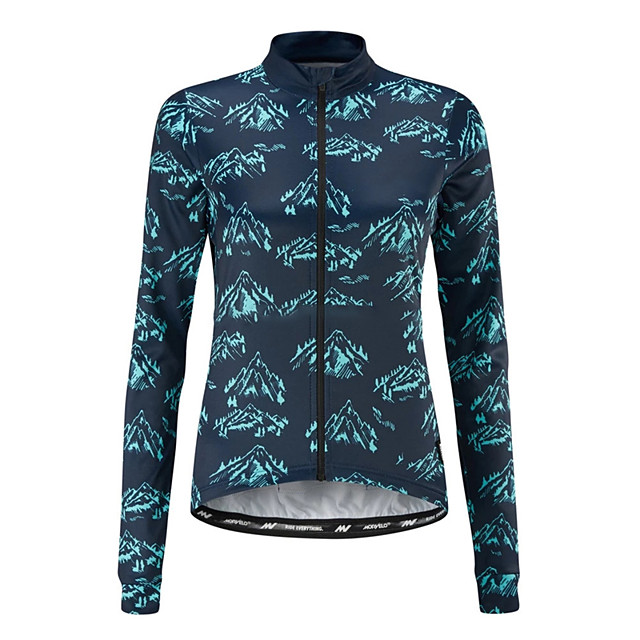 21Grams Women's Long Sleeve Cycling Jersey Blue Bike Jersey Top Mountain Bike MTB Road Bike Cycling UV Resistant Breathable Quick Dry Sports Clothing Apparel / Stretchy / Race Fit / Italian Ink