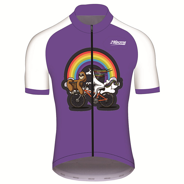 21Grams Men's Short Sleeve Cycling Jersey Purple Animal Sloth Bike Jersey Top Mountain Bike MTB Road Bike Cycling UV Resistant Breathable Quick Dry Sports Clothing Apparel / Stretchy / Race Fit