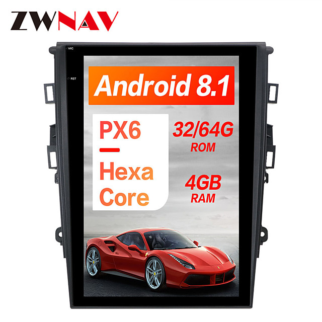 ZWNAV Android 8.1 12.1 inch 1din Tesla style Car DVD Player Car GPS Navigation Car multimedia Player For Ford Mondeo Fusion MK5 2017