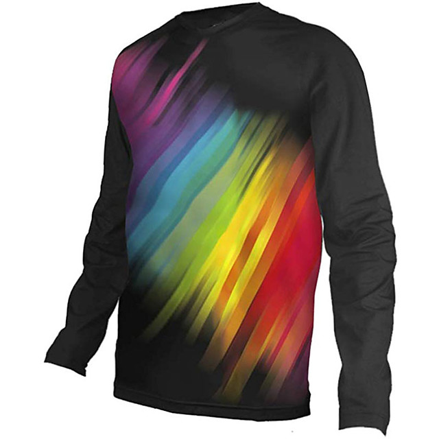21Grams Men's Long Sleeve Cycling Jersey Downhill Jersey Dirt Bike Jersey Black / Red Rainbow Stripes Bike Jersey Top Mountain Bike MTB Road Bike Cycling UV Resistant Breathable Quick Dry Sports