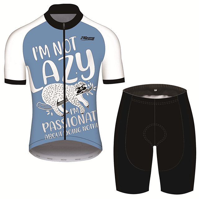 21Grams Men's Short Sleeve Cycling Jersey with Shorts Black / Blue Animal Sloth Bike Clothing Suit UV Resistant Breathable 3D Pad Quick Dry Sweat-wicking Sports Animal Mountain Bike MTB Road Bike