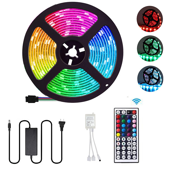 5m Flexible LED Strip Lights Light Sets RGB Tiktok Lights 300 LEDs SMD5050 10mm 1 44Keys Remote Controller / 1 X 12V 5A Power Supply 1 set Multi Color Waterproof / Cuttable / Party 12 V