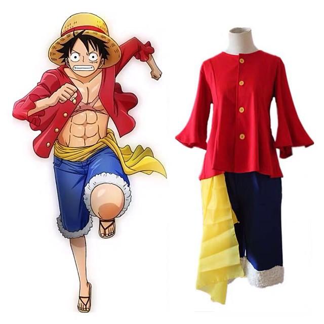 Esinlenen One Piece Monkey D. Luffy Anime Cosplay Kostümleri Japonca Cosplay Takımları N / A Top Kemer Şort Uyumluluk Erkek Kadın's
