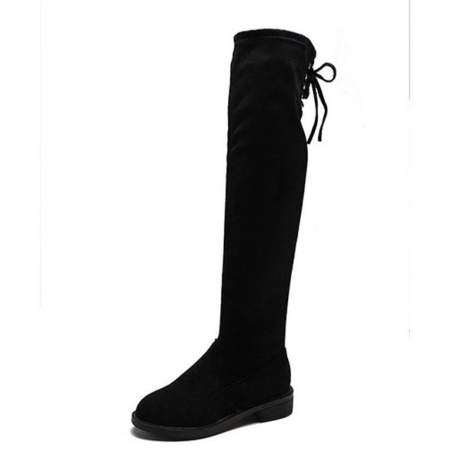 Women's Boots Flat Heel Round Toe Suede Over The Knee Boots Fall & Winter Black