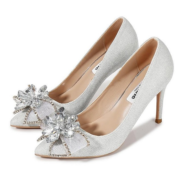 Women's Wedding Shoes Stiletto Heel Pointed Toe Mesh Spring & Summer Red / Silver