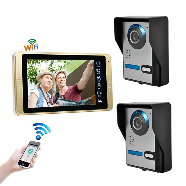 Wired & Wireless 7 inch Hands-free 1024*600 Pixel Two to One video doorphone