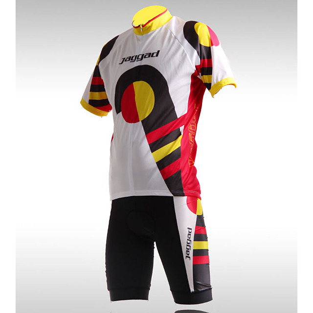 Jaggad Women's Short Sleeve Cycling Jersey with Shorts Spandex Coolmax® Lycra Golden+Red Novelty Funny Bike Clothing Suit Breathable 3D Pad Quick Dry Sweat-wicking Sports Geometric Mountain Bike MTB