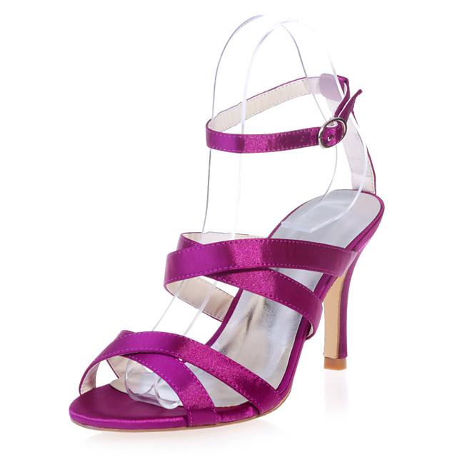 Women's Wedding Shoes Stiletto Heel Open Toe Satin Minimalism Spring & Summer White / Purple / Champagne / Party & Evening