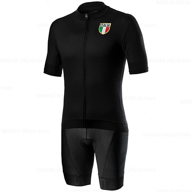 21Grams Men's Short Sleeve Cycling Jersey with Shorts Blue Black Italy National Flag Bike Clothing Suit UV Resistant Breathable 3D Pad Quick Dry Sweat-wicking Sports Solid Color Mountain Bike MTB