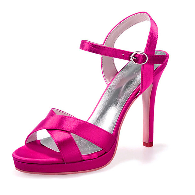 Women's Wedding Shoes Stiletto Heel Open Toe Satin Minimalism Spring & Summer White / Purple / Red / Party & Evening