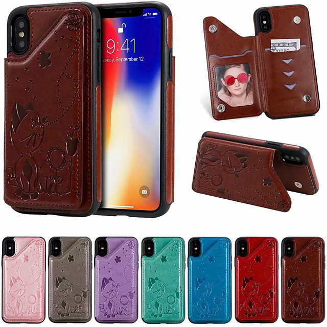Case For Apple iPhone XR / iPhone XS Max / iphone X / XS Card Holder / Shockproof / Pattern Back Cover Cartoon PU Leather