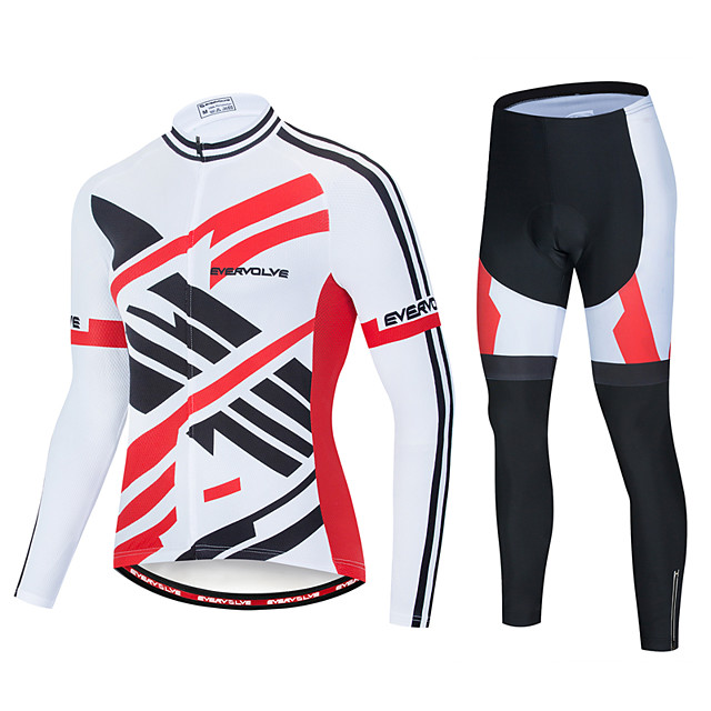 EVERVOLVE Men's Long Sleeve Cycling Jersey with Tights Polyester Black / White Stripes Geometic Bike Clothing Suit Thermal / Warm Breathable 3D Pad Quick Dry Sweat-wicking Sports Solid Color Mountain