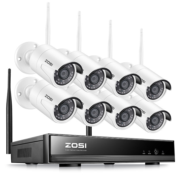 ZOSI H.265 1080P Wireless CCTV System HDD 2MP 8CH Powerful NVR IP IR-CUT CCTV Camera IP Security System Surveillance Kits Day and Nightvision Waterproof Remote Viewing