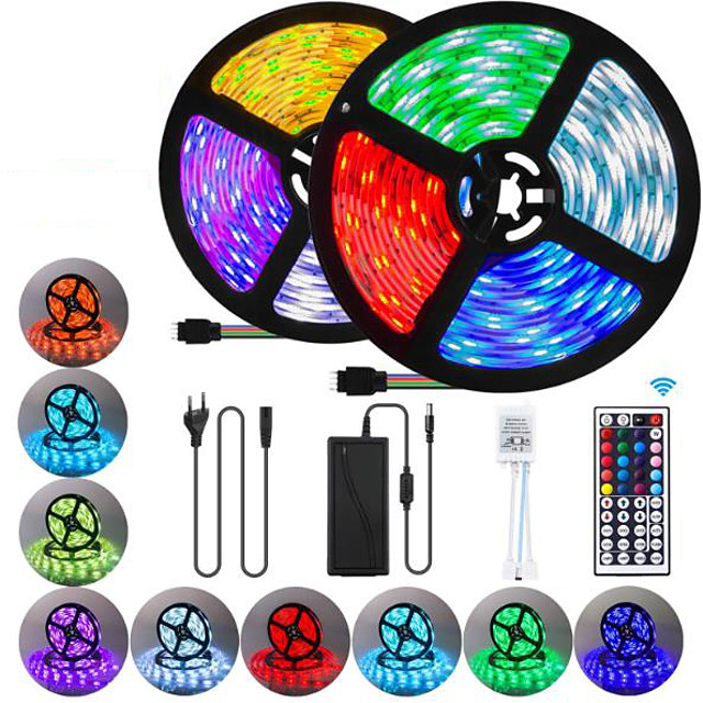 2x5M Flexible LED Strip Lights Light Sets RGB Tiktok Lights 600 LEDs SMD5050 10mm 1 44Keys Remote Controller / 1 x 10A power adapter 1 set Multi Color Waterproof / Cuttable / Party 85-265 V