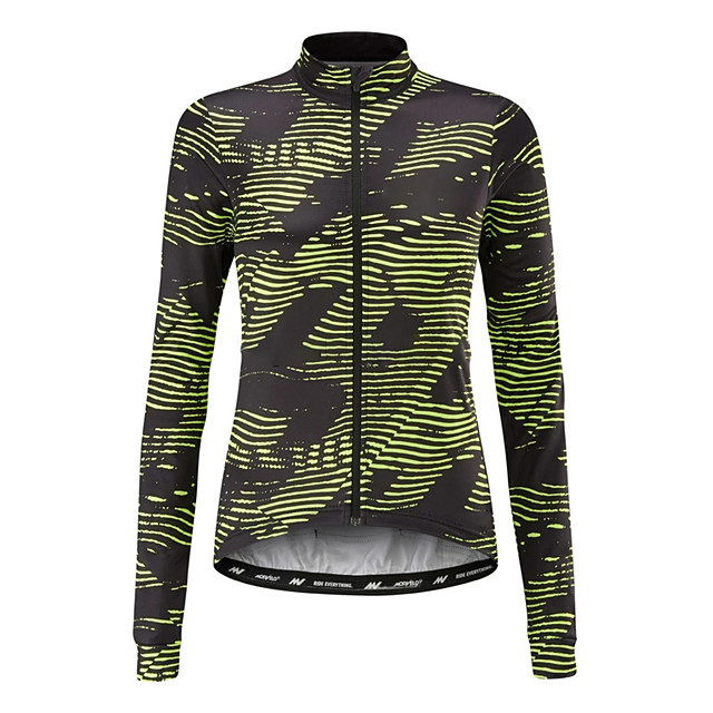 21Grams Women's Long Sleeve Cycling Jersey Black / Green Stripes Bike Jersey Top Mountain Bike MTB Road Bike Cycling UV Resistant Breathable Quick Dry Sports Clothing Apparel / Stretchy / Race Fit
