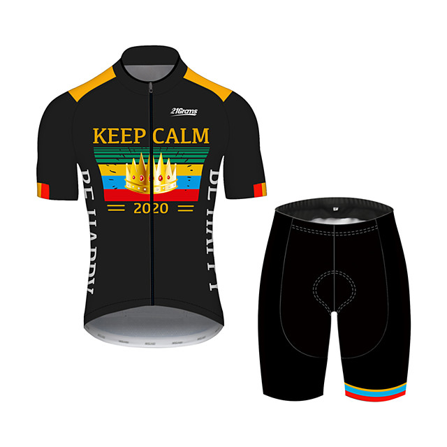 21Grams Men's Short Sleeve Cycling Jersey with Shorts Black / Yellow Stripes Crown Bike Clothing Suit UV Resistant Breathable 3D Pad Quick Dry Sweat-wicking Sports Stripes Mountain Bike MTB Road Bike
